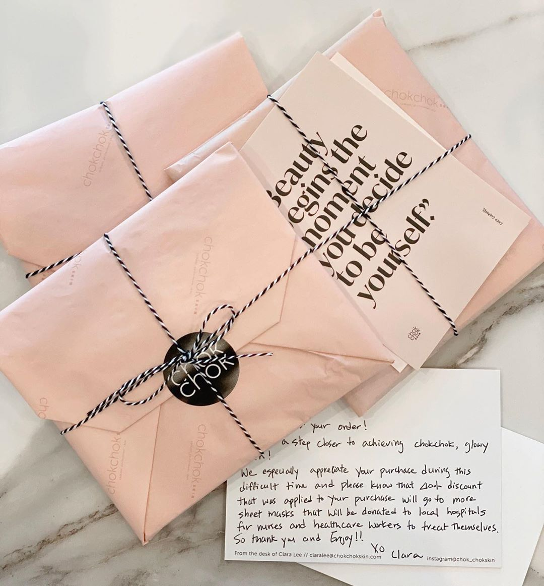 Pink tissue paper packaging