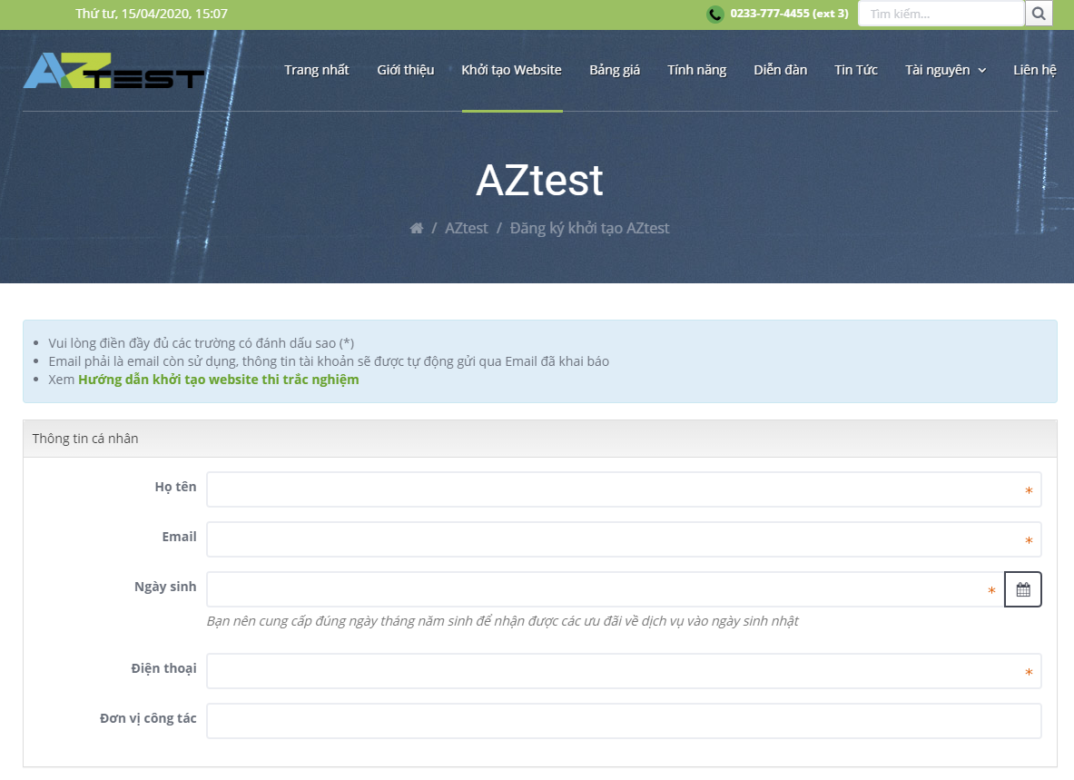 Đăng ký sử dụng phần mềm trắc nghiệm AZtest