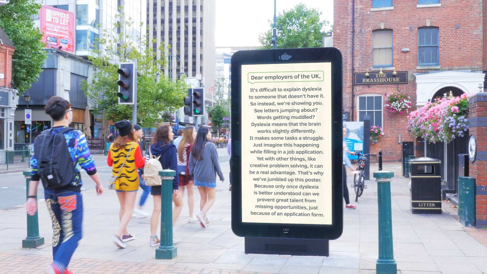Digital billboard with long texts on the street