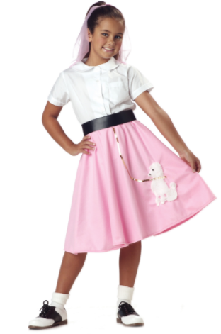 young girl wearing a white short with pink poodle skirt