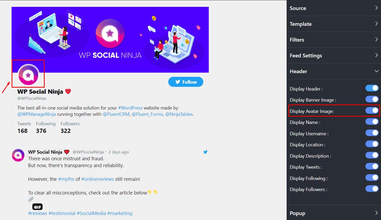 Twitter settings display avatar image