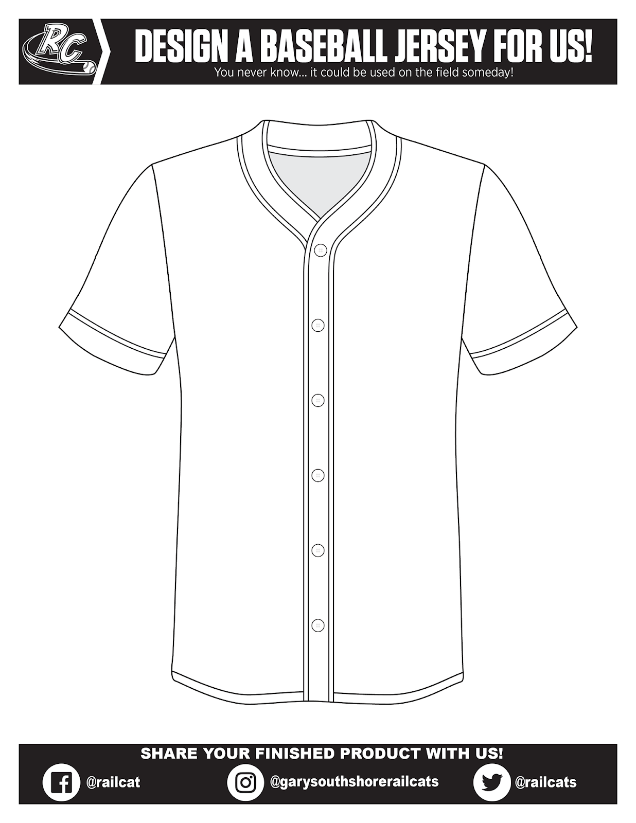 Design a baseball jersey for the Gary Southshore Railcats