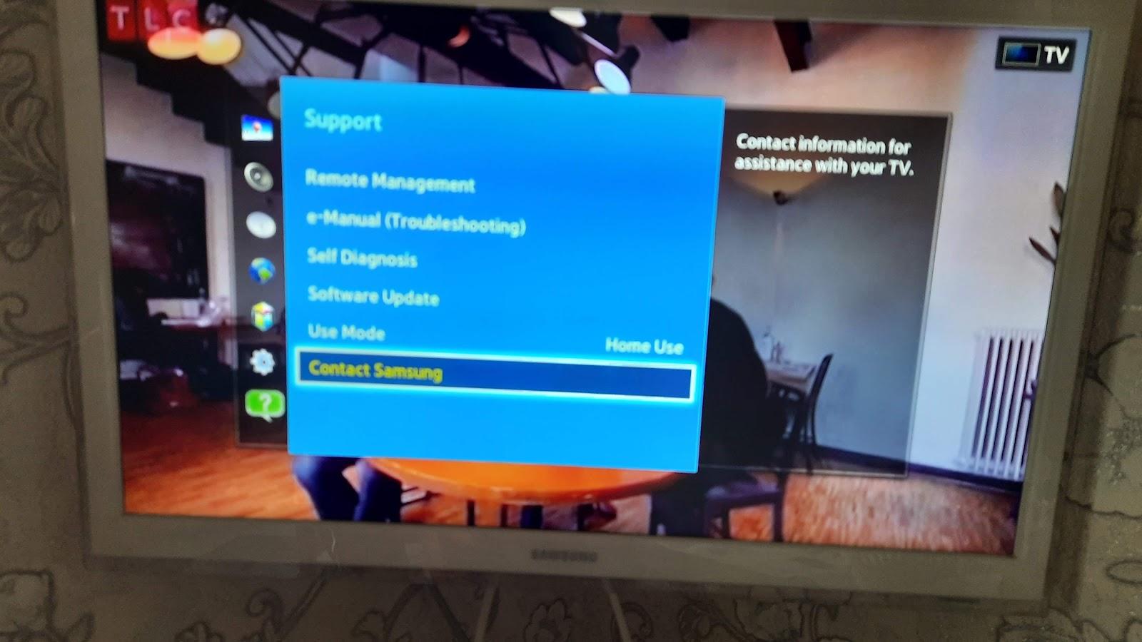 Menu TV Samsung contacter Samsung