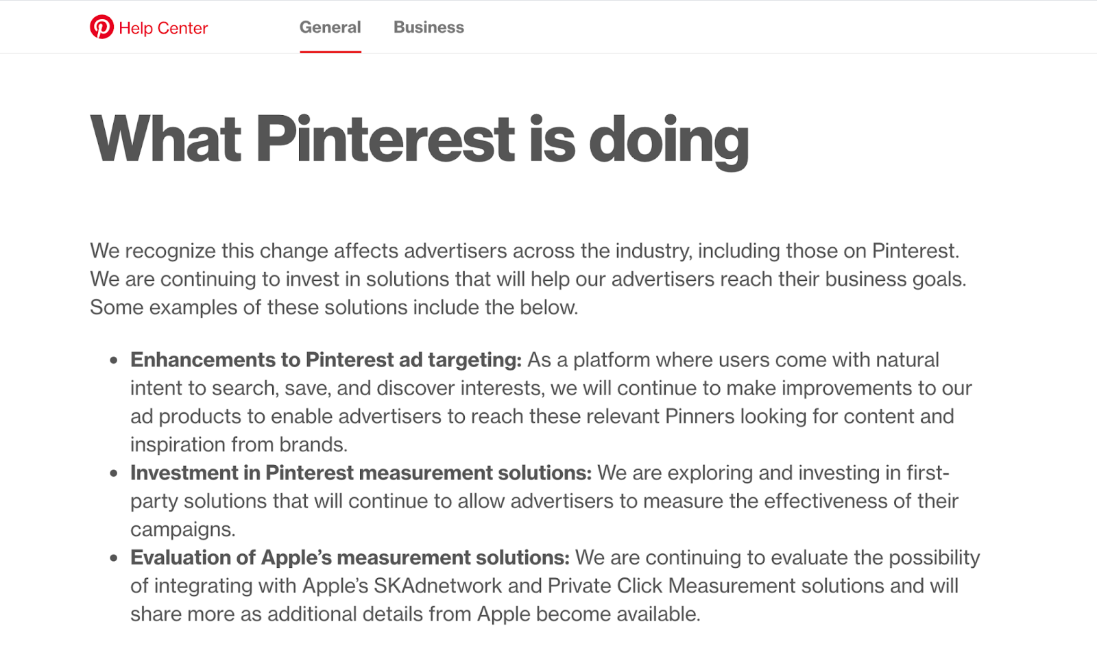 Pinterest's suggestions for marketing adjustments