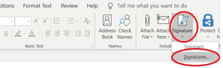 Choose Outlook signature