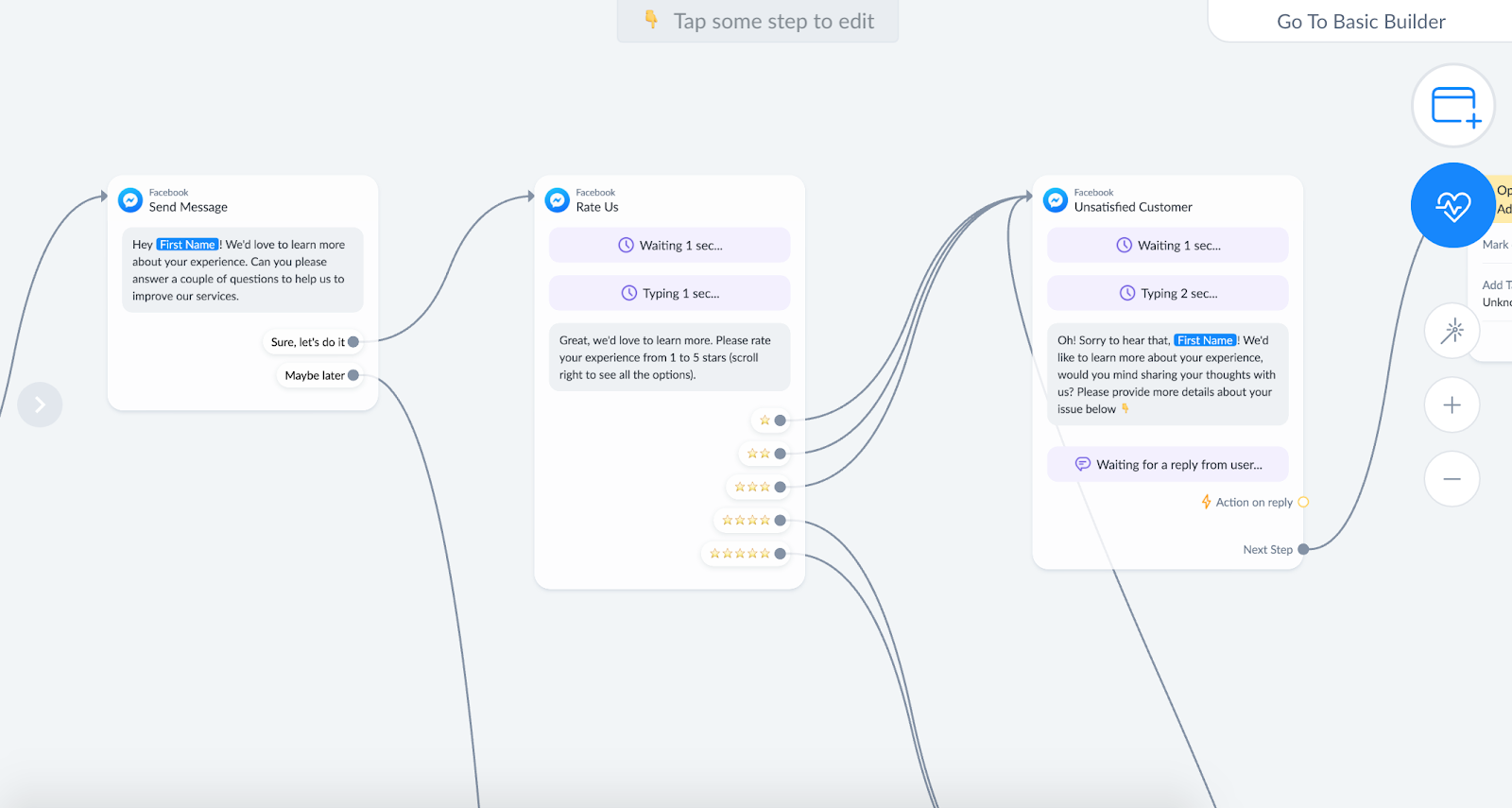 Getting customer feedback for product in ManyChat flow