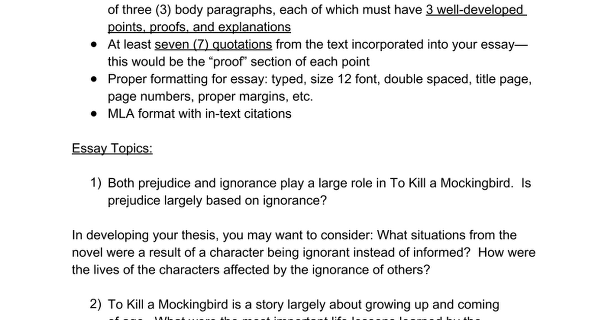to kill a mockingbird final essay google docs