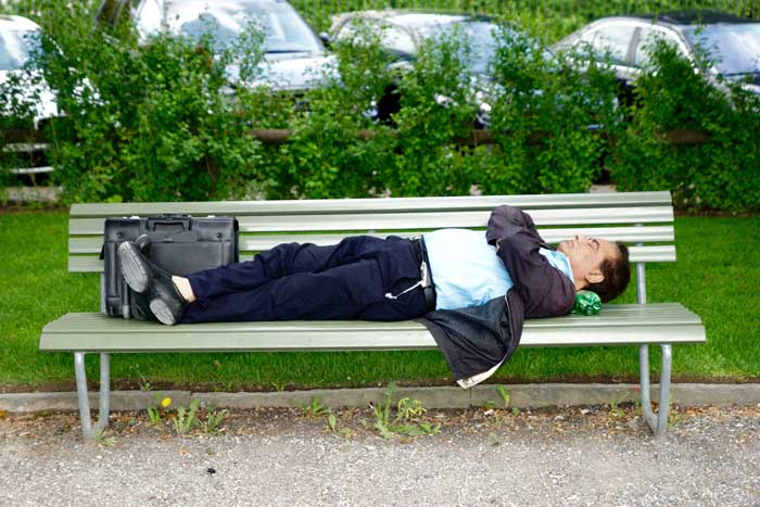 business man sleeping on park bench