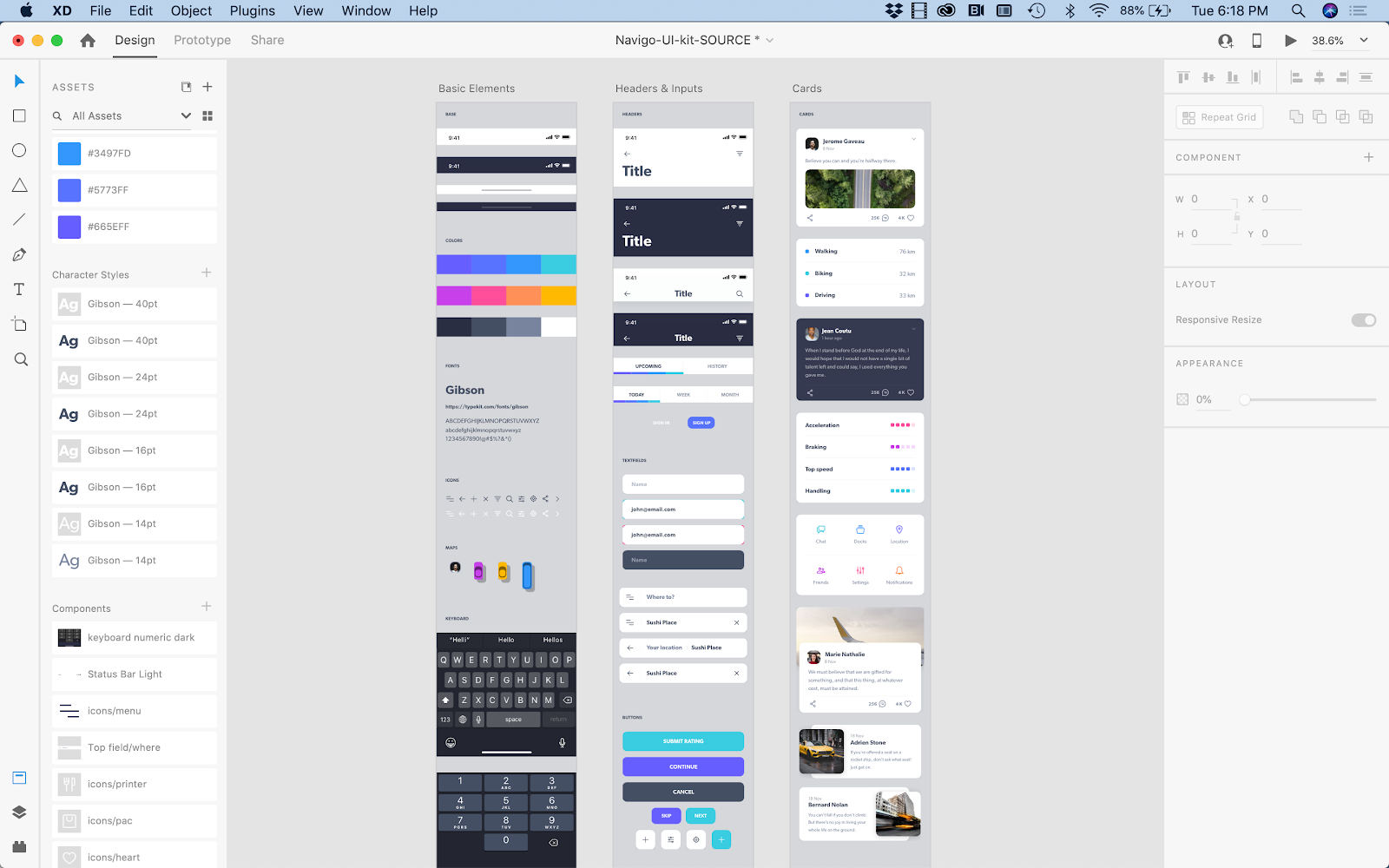 Examples of colors, characters styles and components as reusable elements to be leveraged for a mobile app wireframe.
