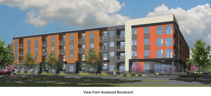 Ace Apts view from Acewood Blvd