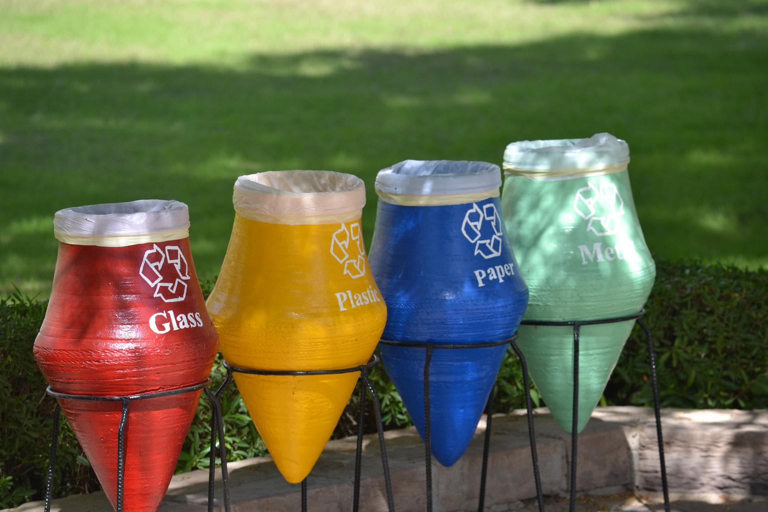 recycling waste bins in colors