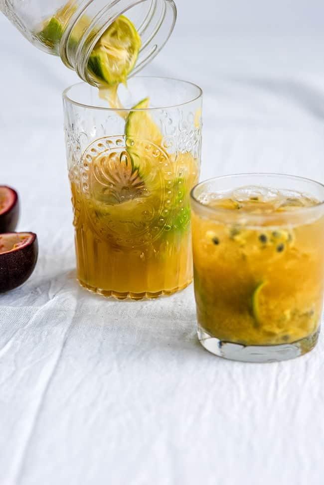 Serving a Passion Fruit Caipirinha