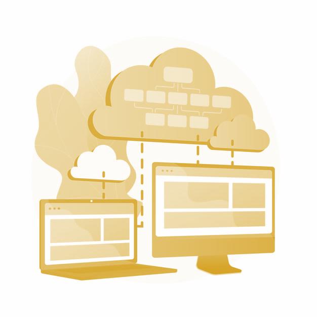 Almacenamiento de información en la nube. computación en la nube colocada. sincronización y armonización de datos. disponible, accesible, digital. copia de seguridad conectada. ilustración de metáfora de concepto aislado de vector vector gratuito