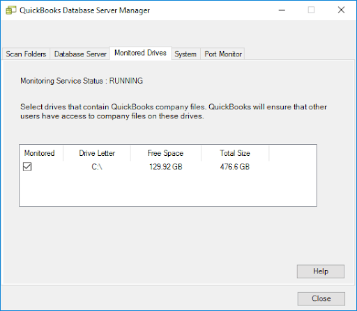 Monitored Drive in QuickBooks Database server manager