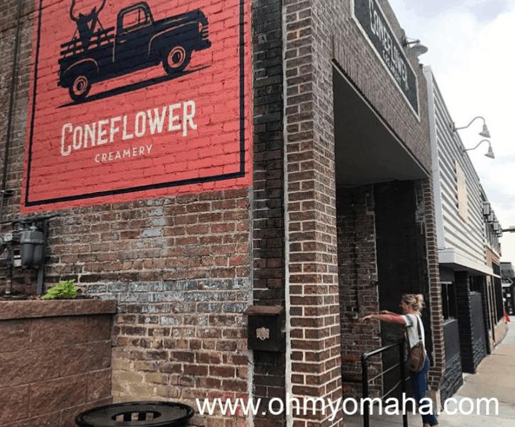 Exterior of Coneflower Creamery in Omaha's Blackstone District.