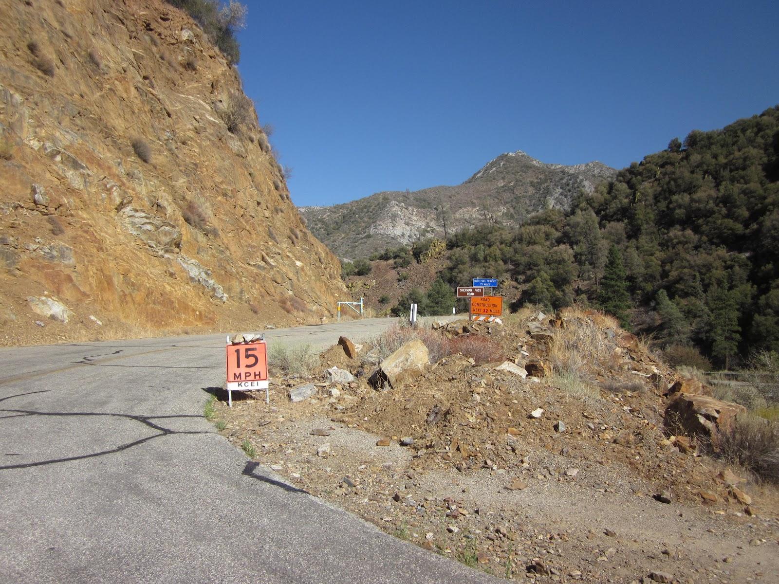 Climbing Sherman Pass Road by bike - start of climb.