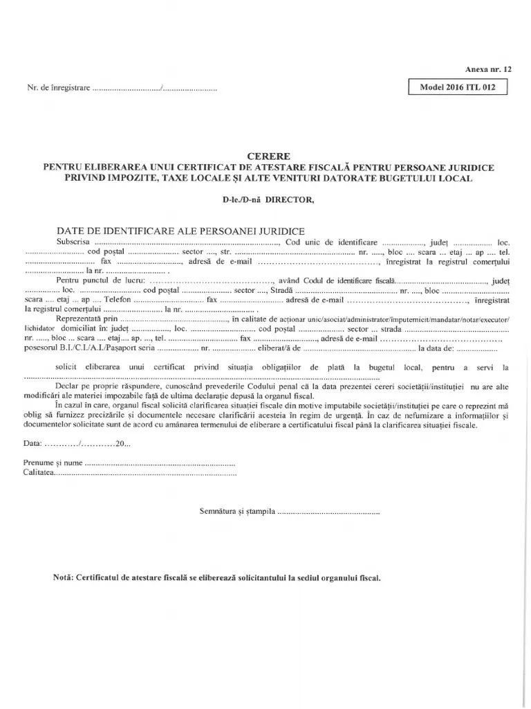 Model cerere certificat fiscal persoane juridice