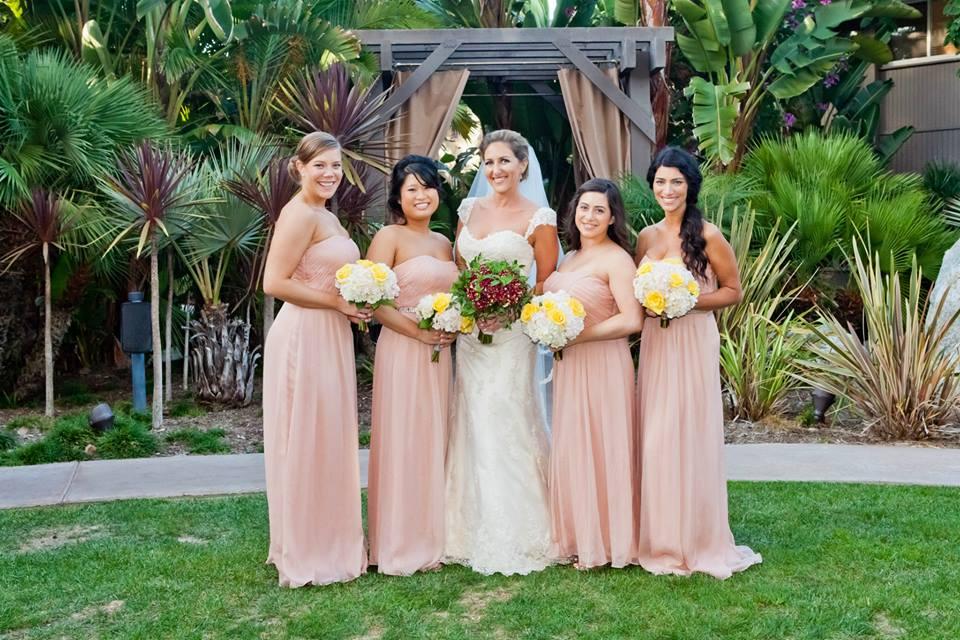 Rachel Meis Bride with Pink Bridesmaids