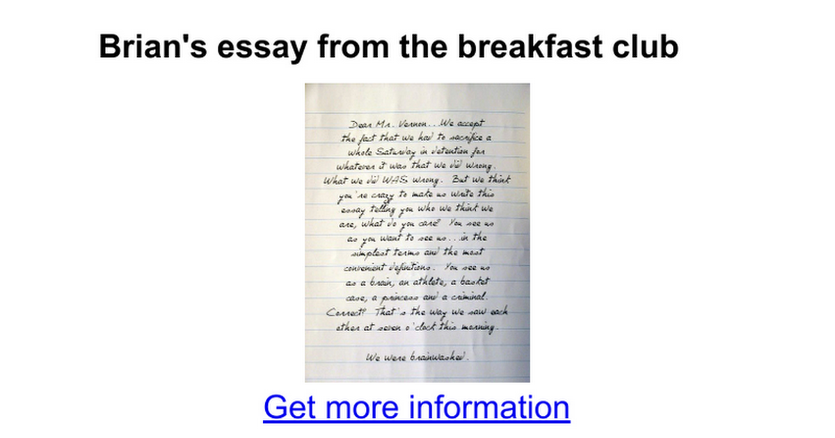 brian s essay from the breakfast club google docs