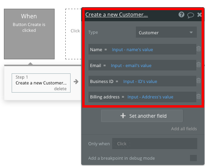 Creating a new Quickbooks customer in Bubble's no-code editor
