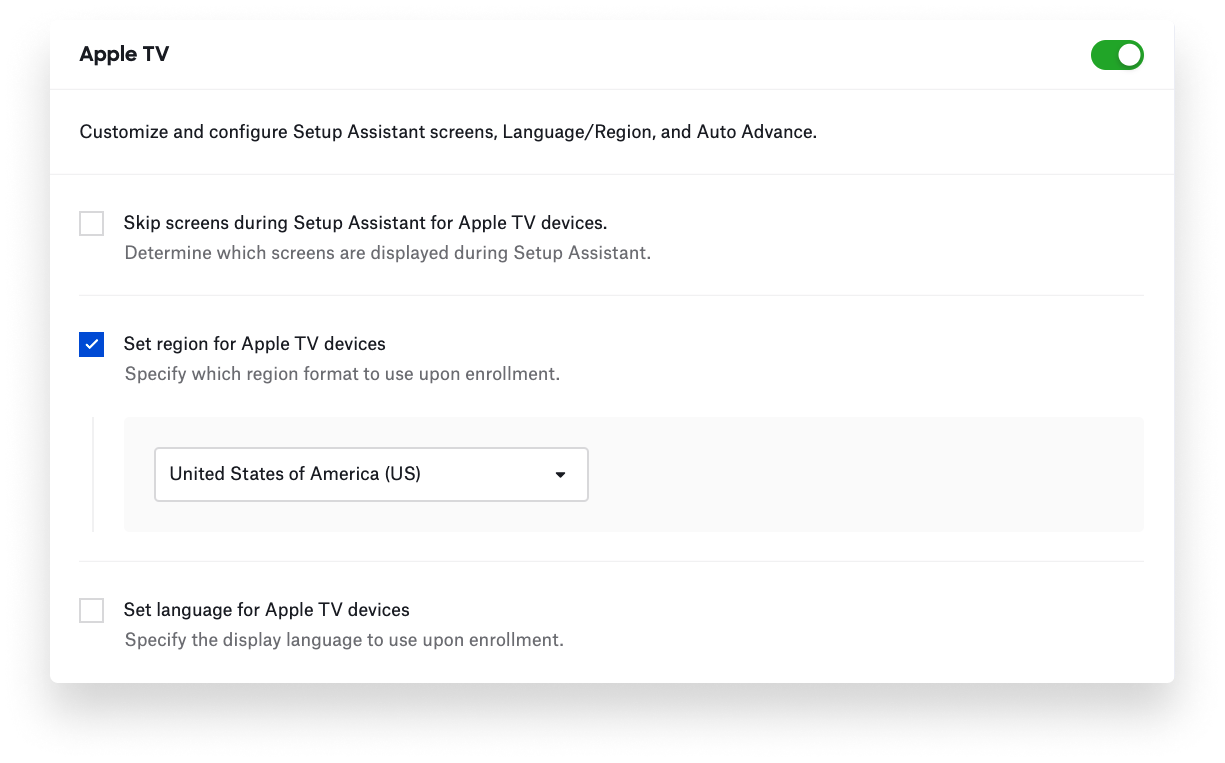 Setting region for Apple TV devices.