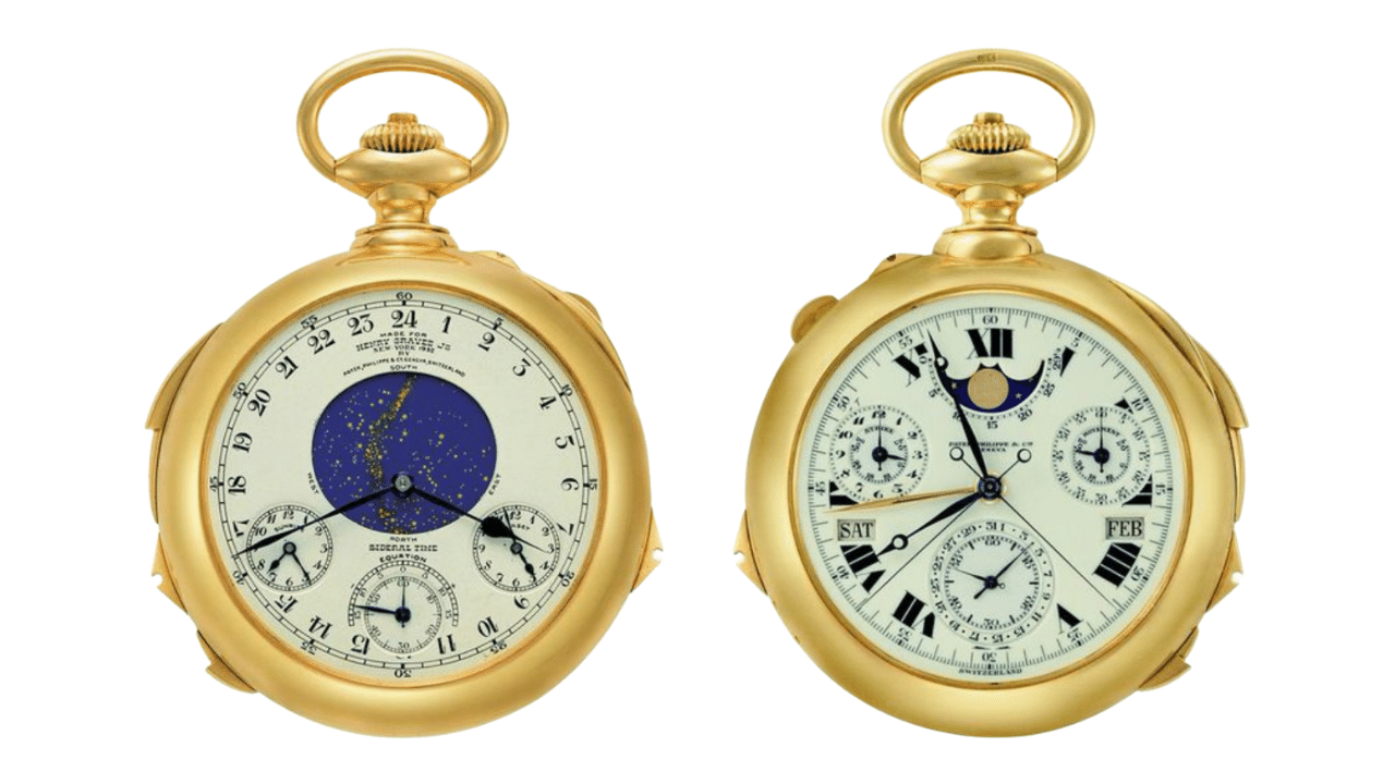 Patek Philippe Grandmaster Chime, photos shows both sides of the pocket watch.