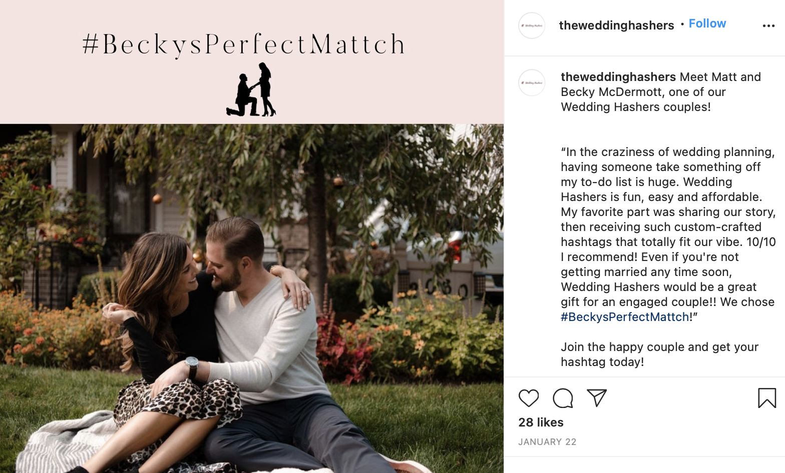 couple from wedding hashers that got their wedding hashtag
