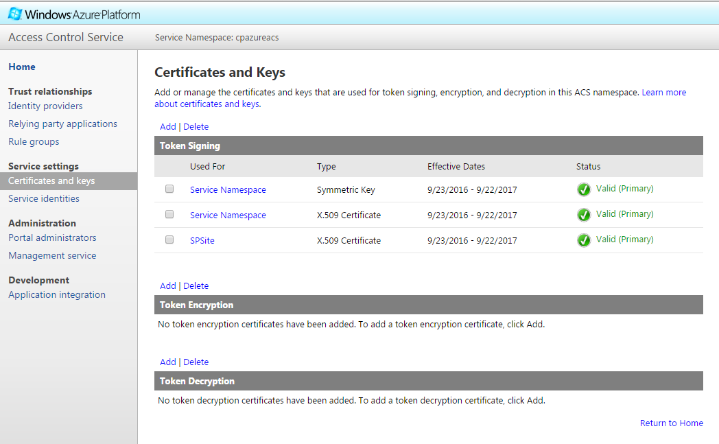 Azure ACS Certificate and Keys