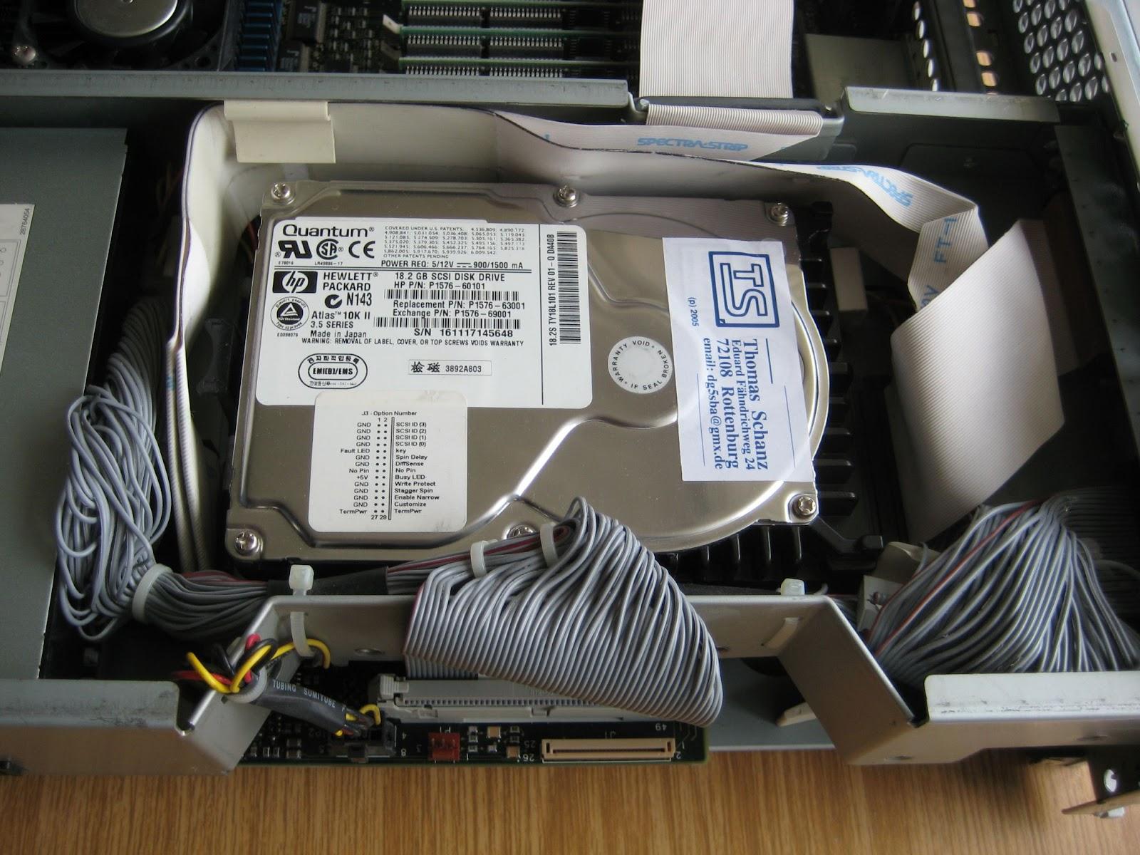 Hard drive inside a CPU cabinet