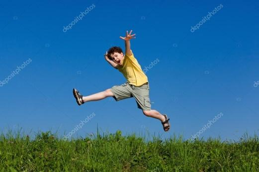 Boy jumping, running against blue sky — Stock Photo © gbh007 #33050247