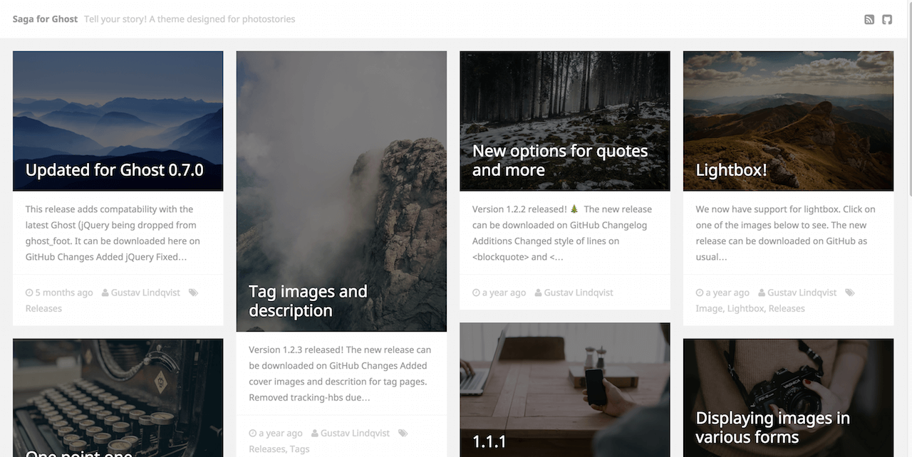 Saga free theme for Ghost blogs and sites