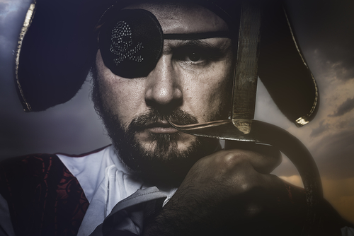 profile of a man dressed up as a pirate