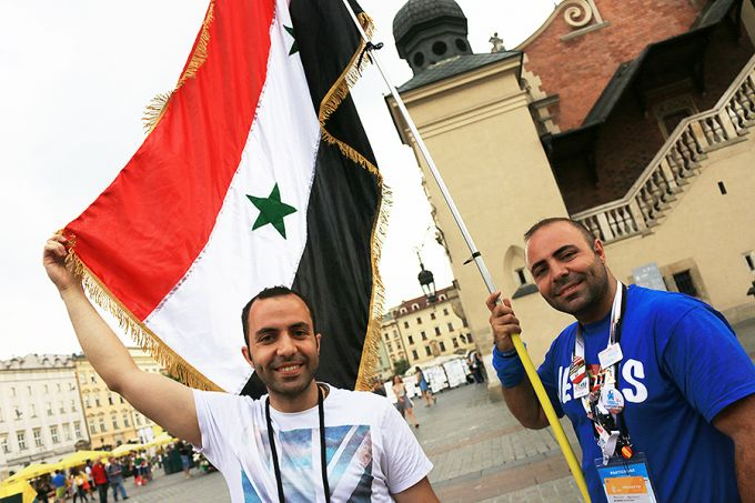Al and Yousef Astfan are brothers from Syria who reunited in Krakow at World Youth Day after three years. Credit: Kate Veik/CNA.