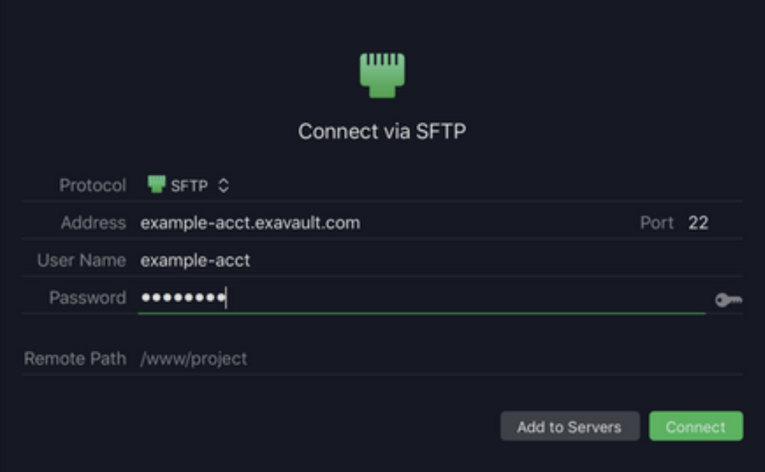 Connect via SFTP with Transmit FTP client.
