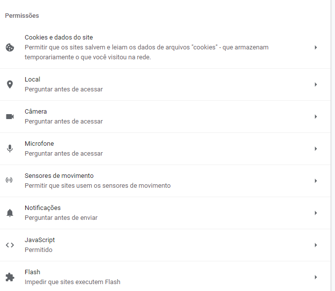 Configurações de permissão do site no navegador