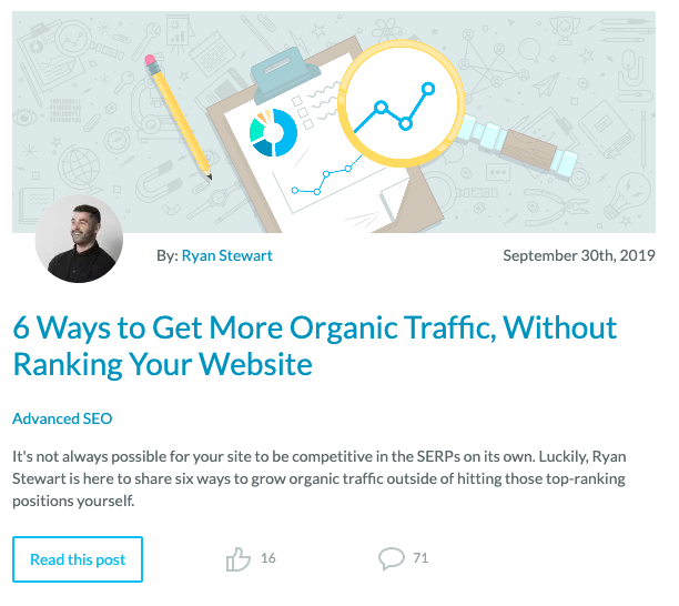 Moz Blog posts content that's relevant to professionals looking to enhance their digital marketing tactics.