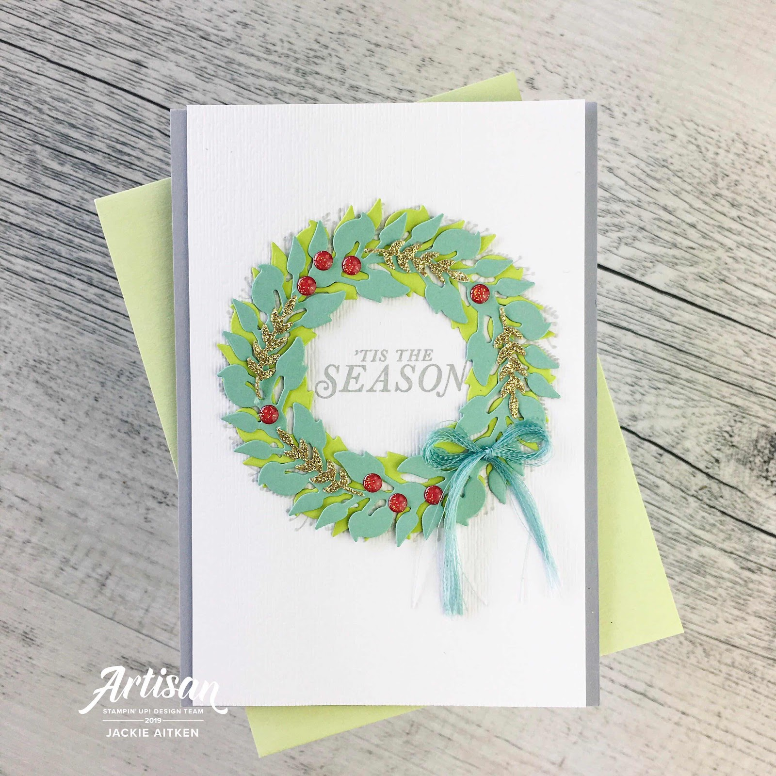 Stampin' Up, Jaxx Crafty Creations, Tidings All Around, Wreath Cards, Christmas Cards, 2019 Holiday Catalogue, Be Inspired Blog Hop, Shimmer Paint,