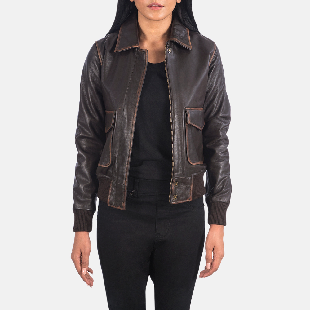 Westa A-2 Brown Leather Bomber Jacket