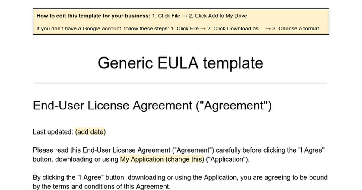 Generic EULA Template Google Docs – End User License Agreement Template