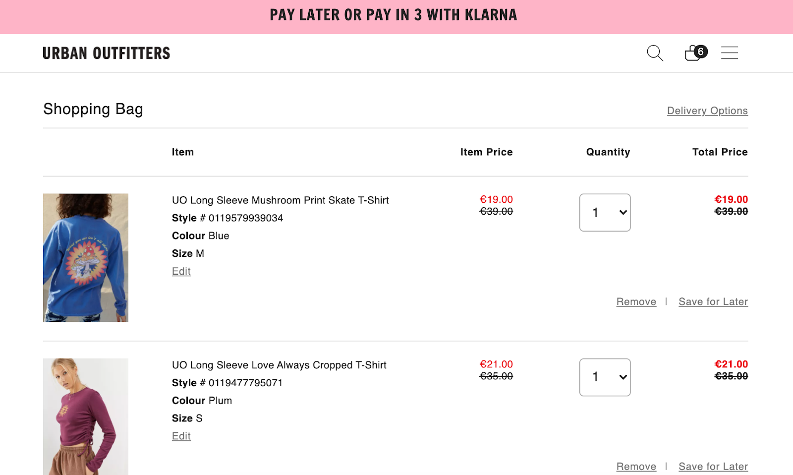 ecommerce product badging notifications in cart