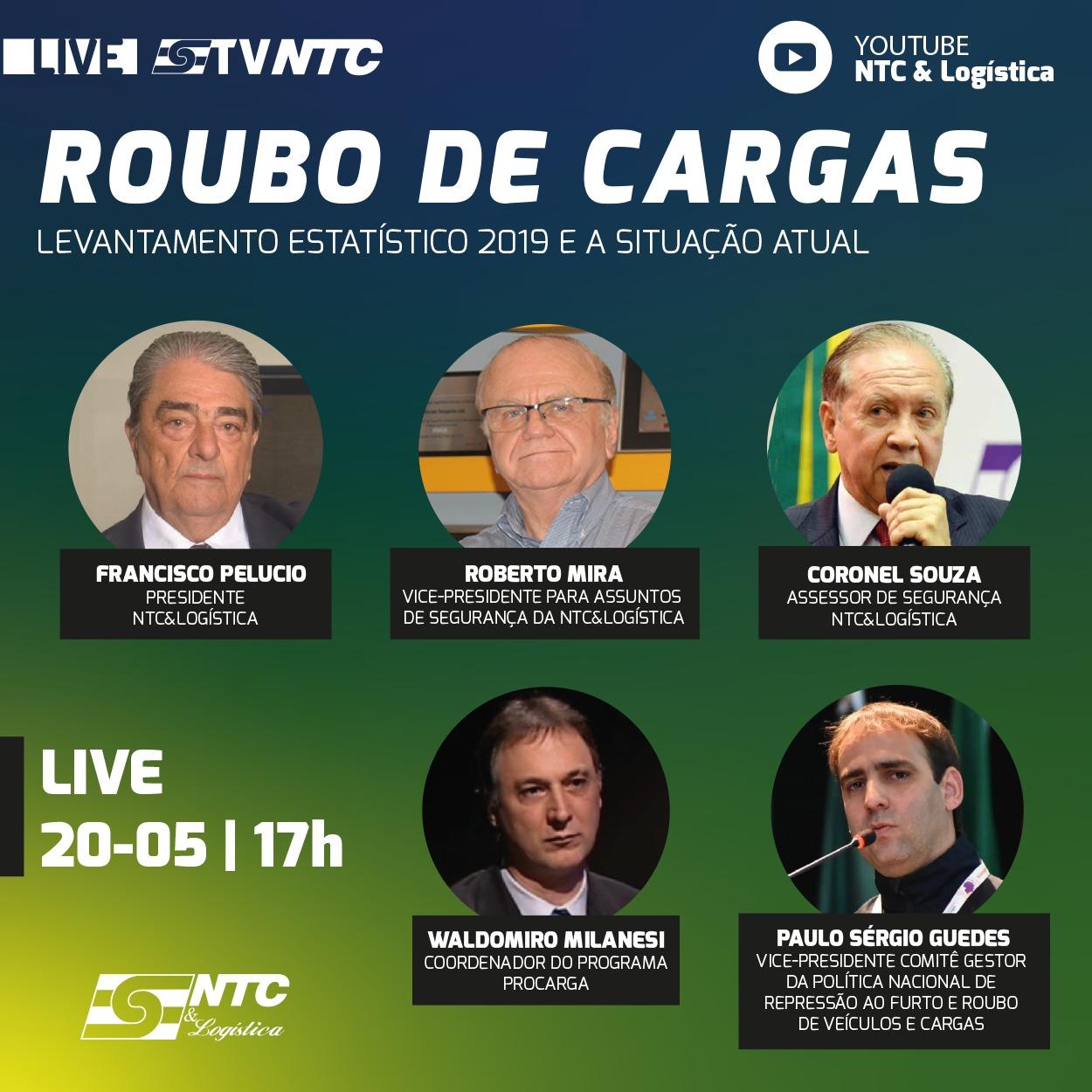 Encontro com ex-presidentes da entidade e panorama nacional 2019 do Roubo de Cargas são destaques hoje da TV NTC