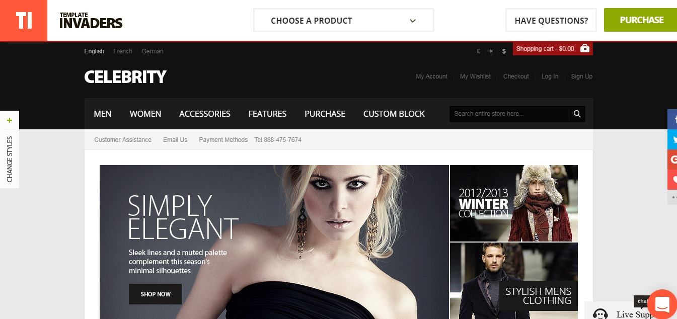 Magento clothing theme Celebrity