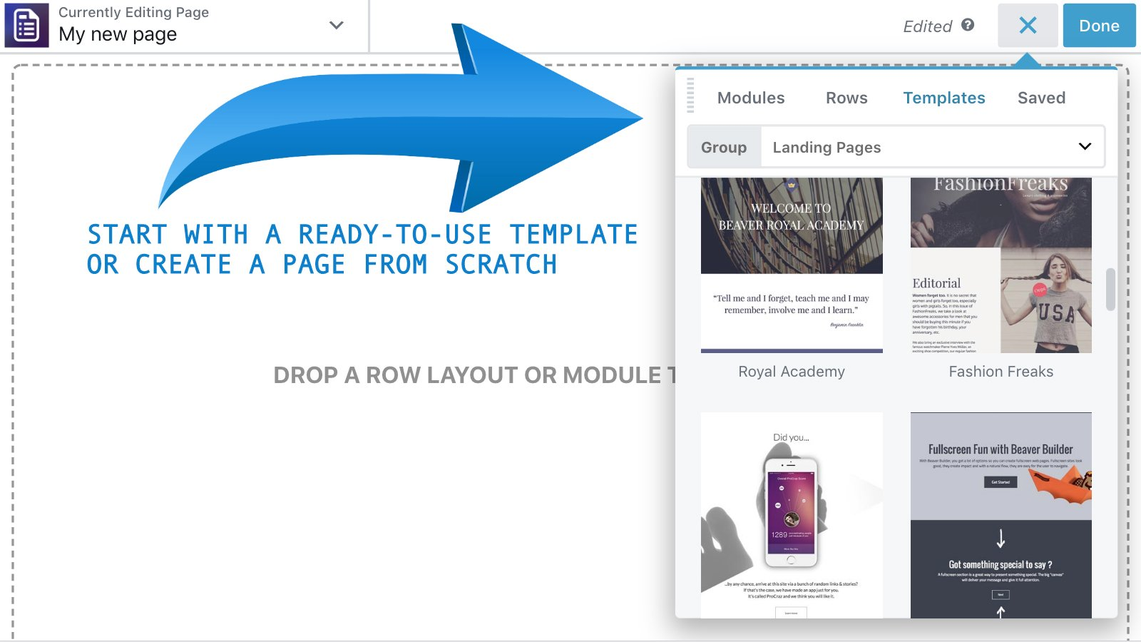 Page builder - start new page