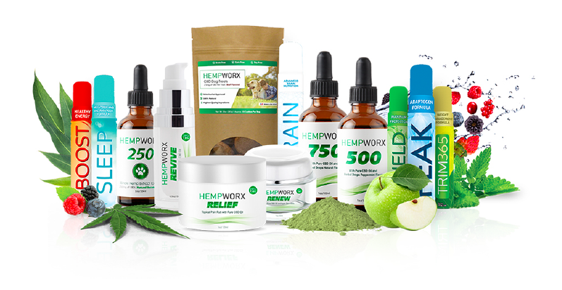 A bunch of Hempworx and MyDailyChoice products