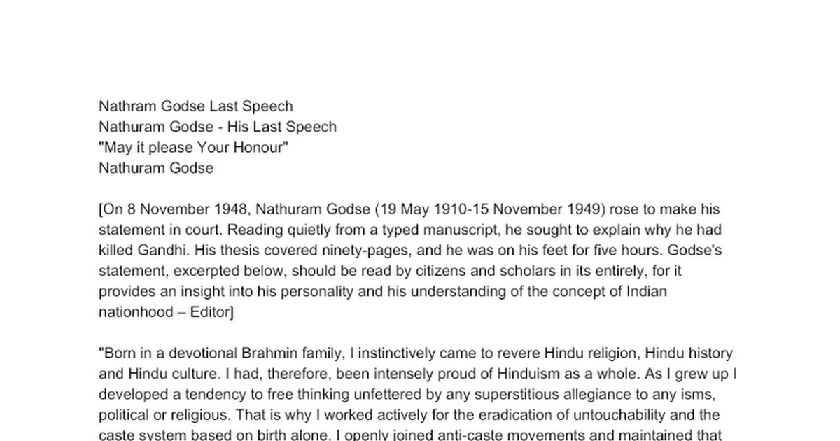 nathram godse last speech google docs