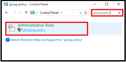 Open Local Group Policy Editor using control panel