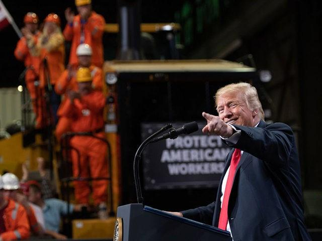 President Donald Trump speaks about trade at U.S. Steel's Granite City Works in Granite City, Ill., on July 26, 2018.