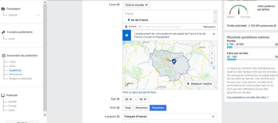 image gestionnaire de pubilicité Facebook audience