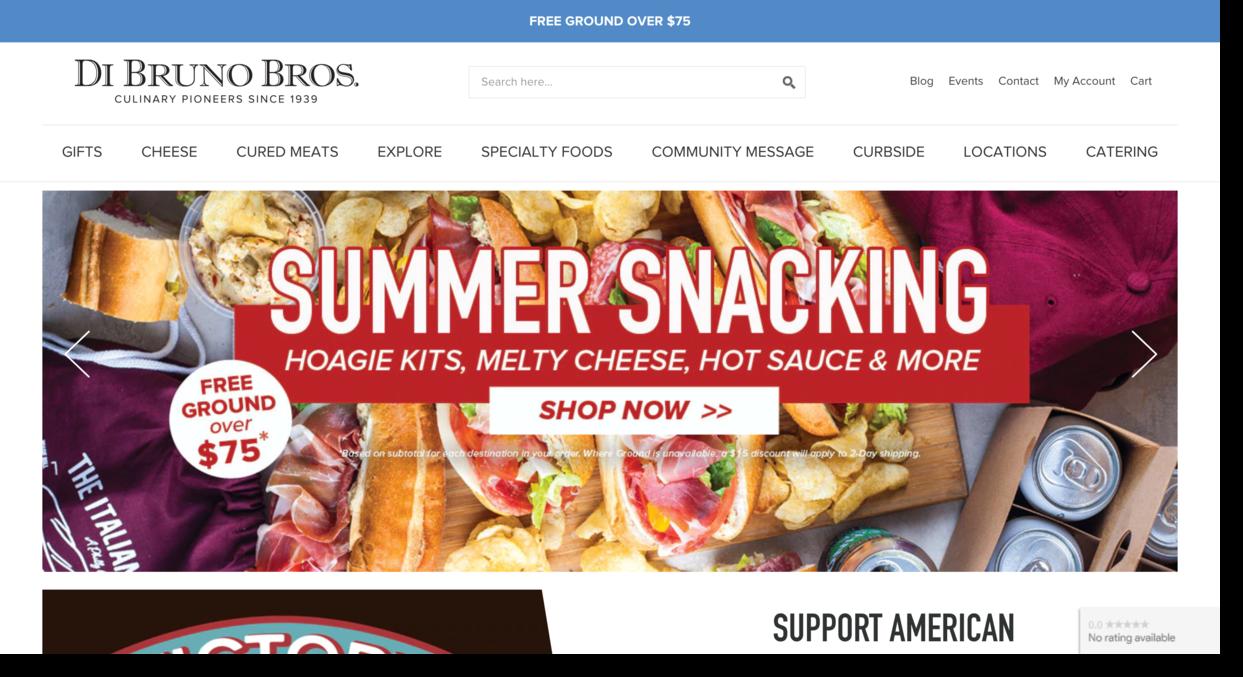 Di Bruno food retailer and importer website screenshot Ecommerce Website Designs