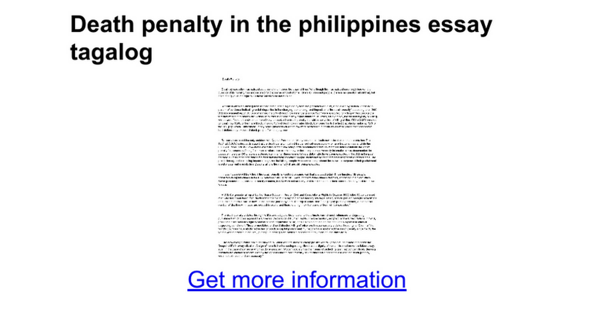 Death penalty in the philippines essay tagalog google docs